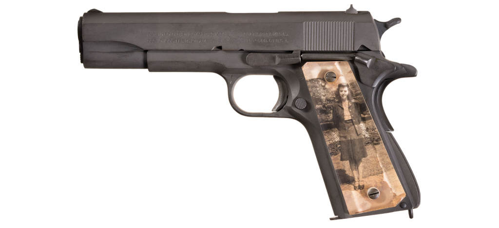 Brigadier General Guy Drewry's M1911 with a picture of his wife, Louise Northington (Rock Island Armory)