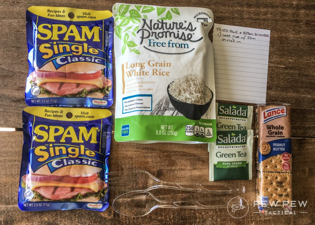 DIY MRE Fried Rice and Spam Ingredients