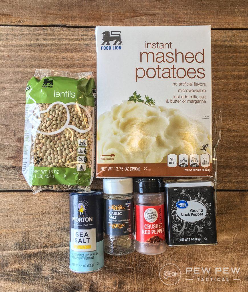 DIY MRE Lentil Casserole Ingredients