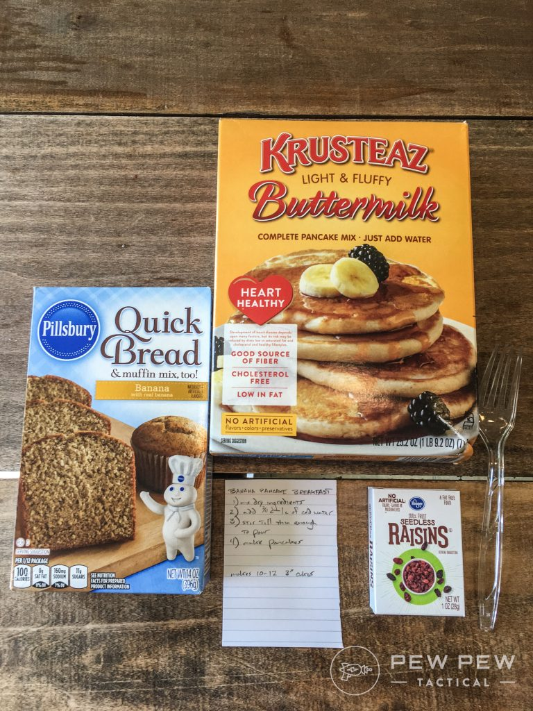DIY MRE Banana Pancake Ingredients
