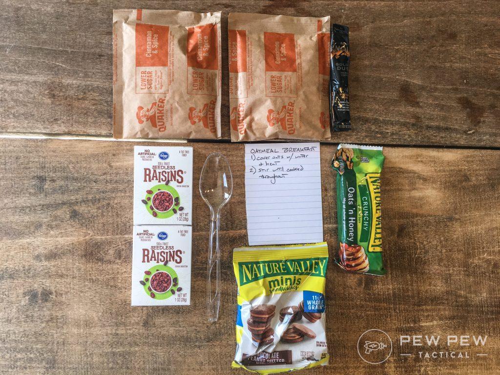 DIY MRE Oatmeal Breakfast Ingredients