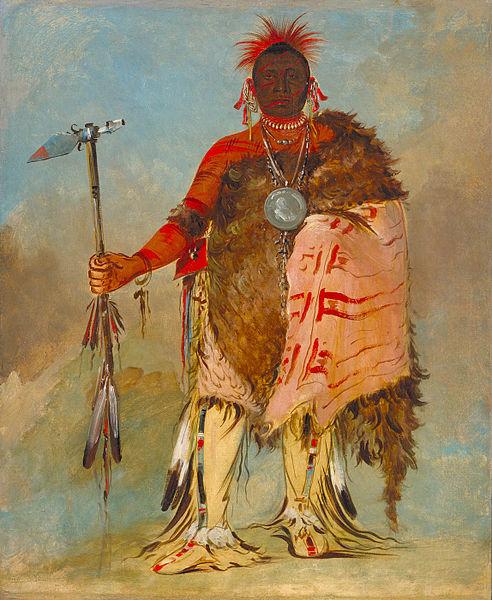 Big Elk Holding Spontoon Tomahawk