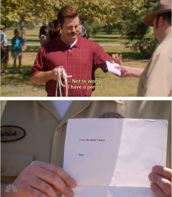 ron swanson permit
